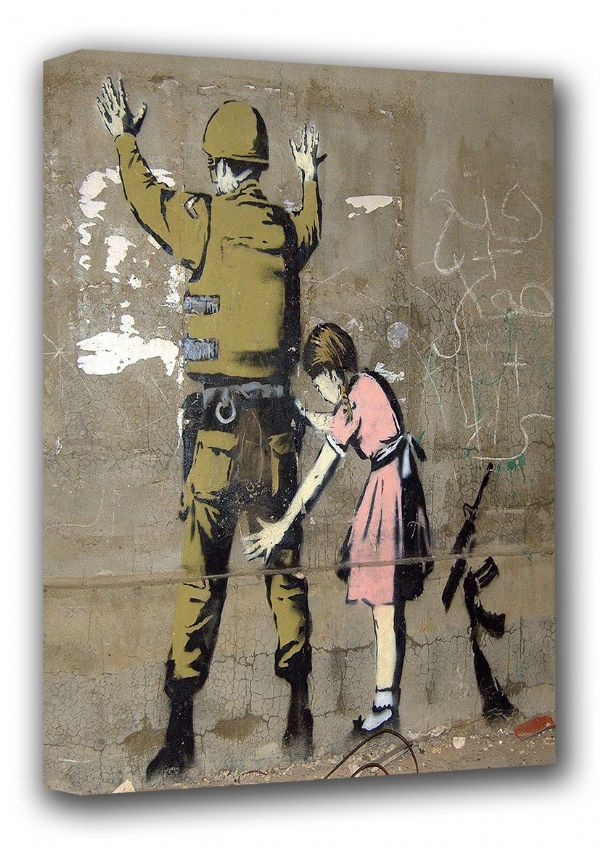 Banksy: Stop and Search (Child Searching Soldier) Bethlehem Graffiti/Street Art Canvas. Sizes: A3/A2/A1 (00593)